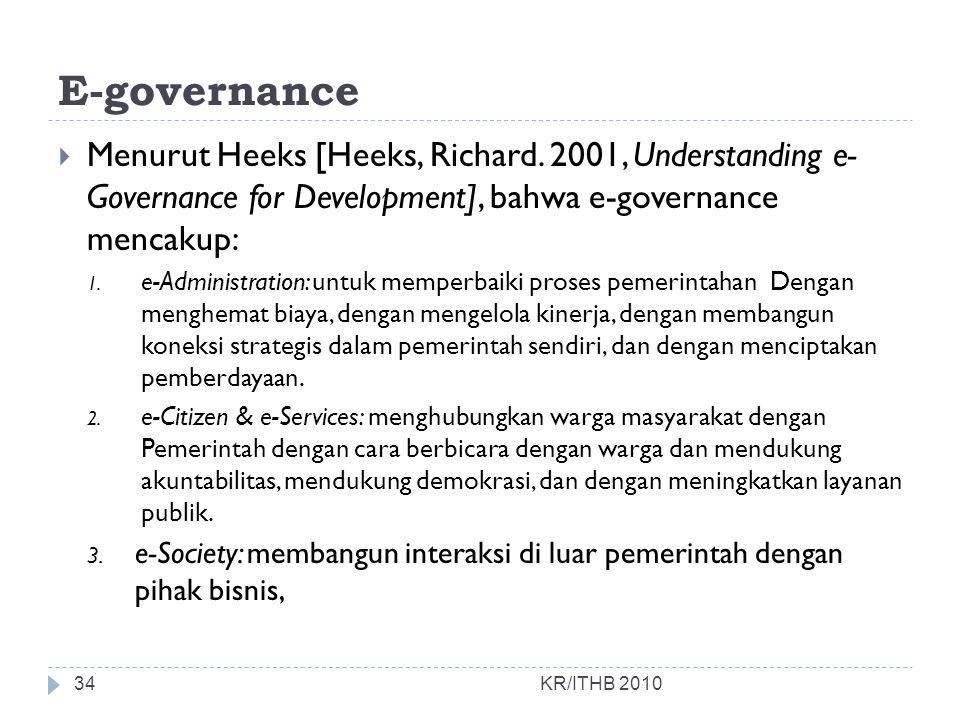 E-governance Menurut Heeks [Heeks, Richard. 2001, Understanding e- Governance for Development], bahwa e-governance mencakup: